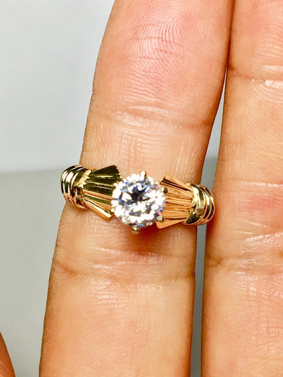 14k solid gold ring/ solitaire design gold ring/ … - image 3