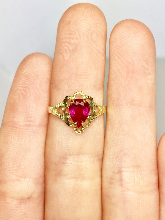 10k Solid Gold Baby Rings - Gold Ruby Rings - Gold