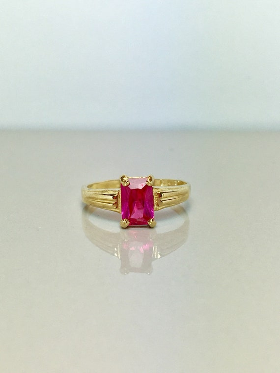 10k Solid Gold Baby Rings - Baby Ruby Rings - Gold