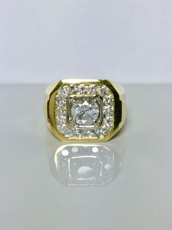 BIG SALE 18k Real Gold Men's Diamond Ring - Men's