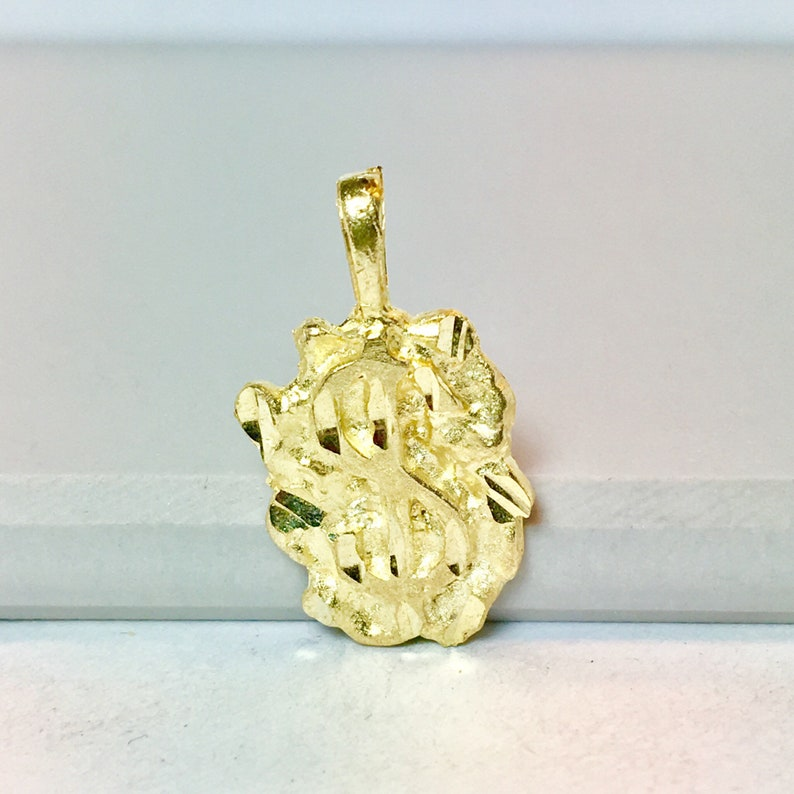 10k solid gold necklace pendant Dollar sign gold pendant Nugget money sign gold charm statement gold pendant meaningful gold charm