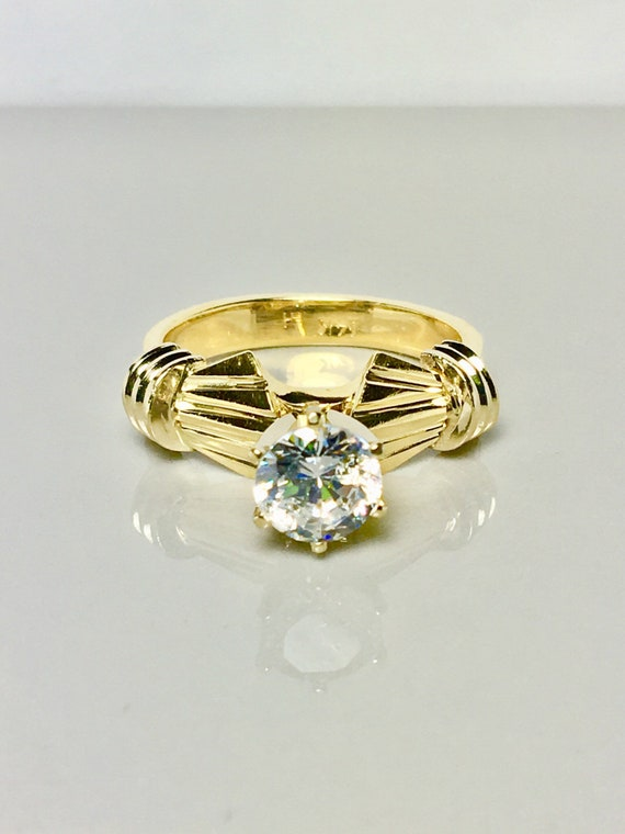 14k solid gold ring/ solitaire design gold ring/ … - image 1