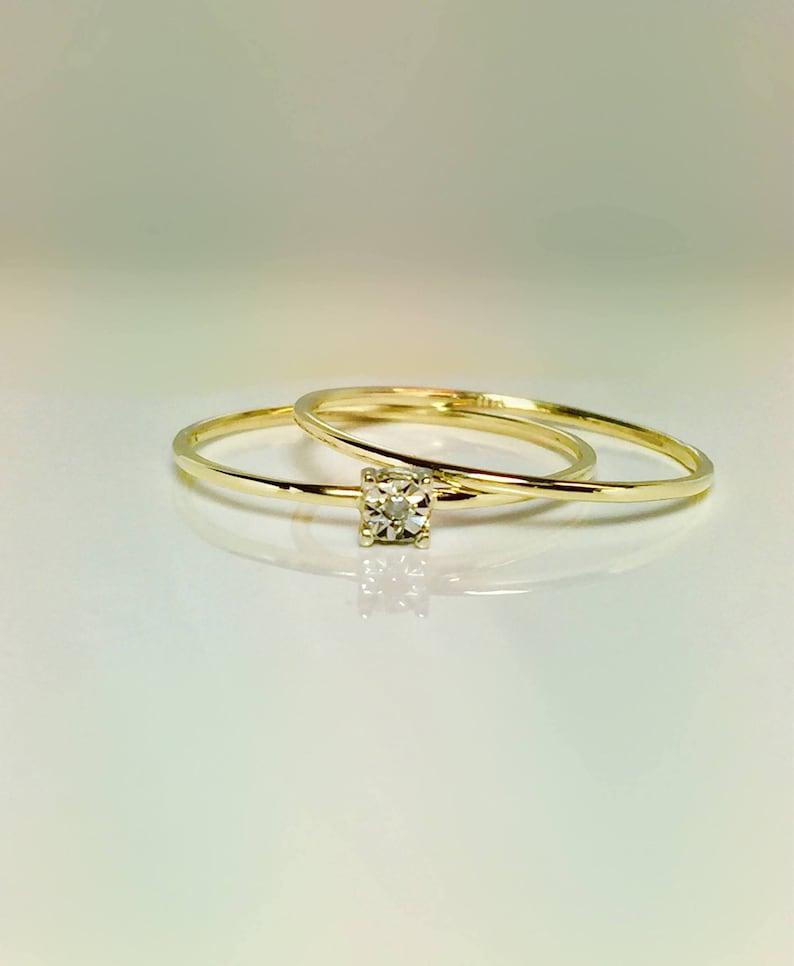 7acdf51bab9fb9 10k gold Ladies Diamond Ring Midi Rings Promise Rings | Etsy