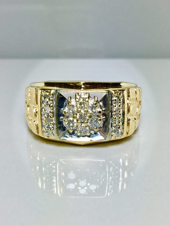 10k Solid Gold Men's Diamond Nugget Rings - Gold R