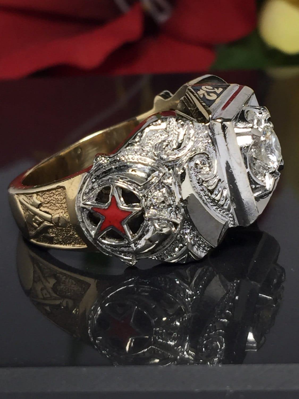 The Best Masonic Ring 14k Solid Gold Diamonds Men S Etsy