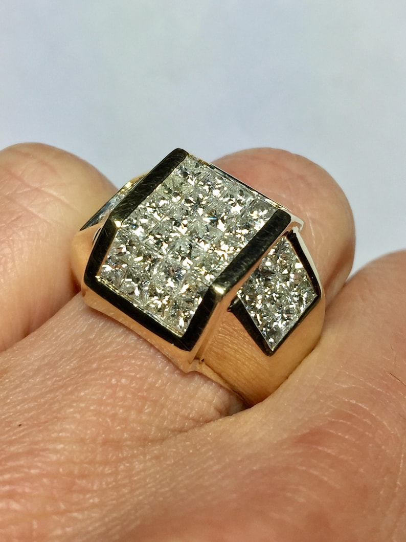 198795cbafe40 Big Sale - 14k gold Men's Diamond Ring -Men Invisible Set Ring - Man  Princess Cut Diamond Rings- Vintage Men Ring - Men's 14k Gold Rings