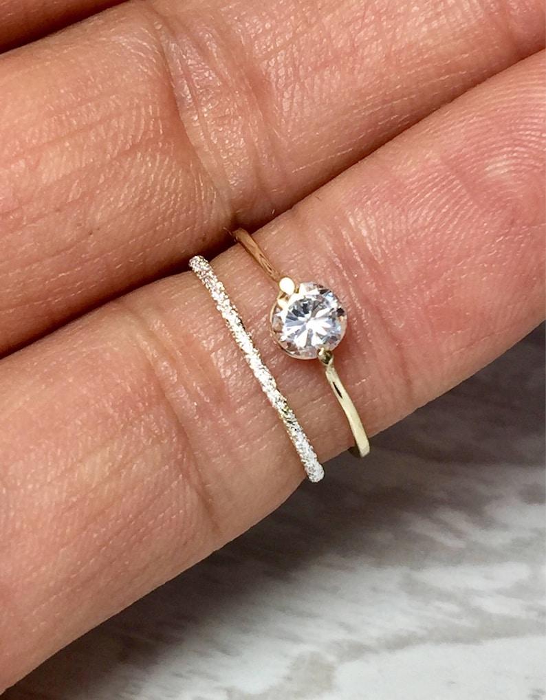 BIG SALE Simple Ladies Rings  14k 10k Gold Ladies Wedding Set image 0