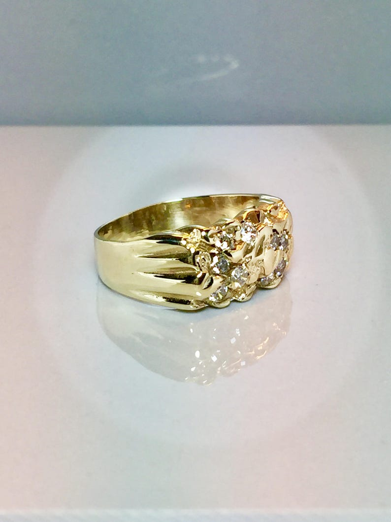 Gold Pinky Ring Gold Diamond Rings Nugget Ring Vintage 10k solid gold Diamond Nugget ring