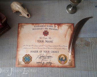 Personalized Ilvermorny certificate/diploma - Puckwudgie - HP - Fantastic Beasts