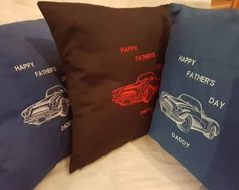 Father's day cushion,personalised. pillow, Father's day present, gift, daddy, corvette cushion.