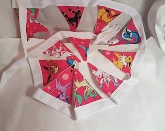 mini bunting. flags Pokemon. eevie. Fabric bunting. Birthday.handmade fabric flag bunting