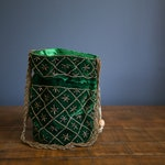Green Indian Potli, Pouch Bag, Bollywood style party bag handmade with Zari embroider