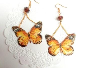 4th of July, Butterfly earrings, butterfly wings, light earrings, long earrings, earrings print, butterfly jewelery