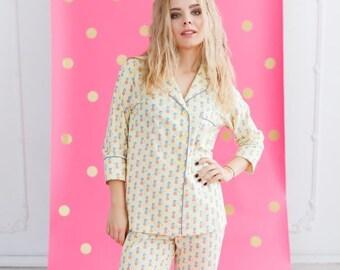 8142afdfdf Bridesmaid Pajama Set Monogrammed Pjs Bridesmaids Pajamas Pajama Pants  Bridal Party Gift for her Cotton Pajamas Custom Pajamas Pineapple