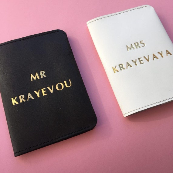 8ffe0eadd4b4 Wedding Gifts Mr and Mrs Passport Cover Personalized Passport Covers  Leather Passport Holder