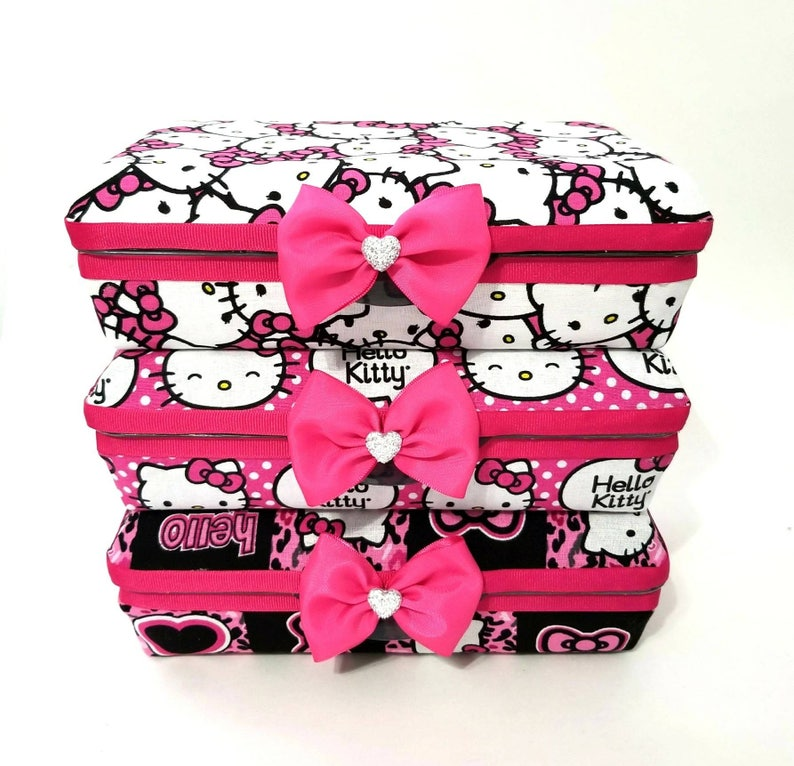 fdf02ad5e70c Hello Kitty fabric Makeup organizer pencil box case storage pink bow  cheetah heart travel pen holder brush girls