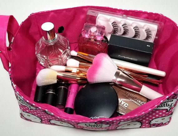 Hello Kitty organizer box makeup holder storage cube basket desk travel  decor accessories toy bin girls nursery pink bow CHOOSE FABRIC