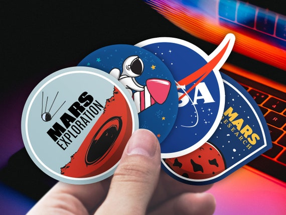 Quality vinyl sticker with rocket Mars. Space patch laptop sticker pack of 4 macbook decals Astronaut