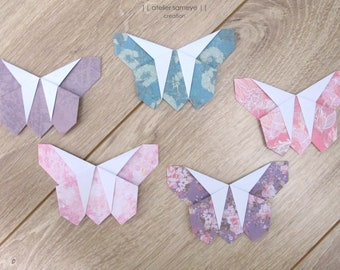 Papillon origami lot 5 pièces tons rose mauve motif indien ...