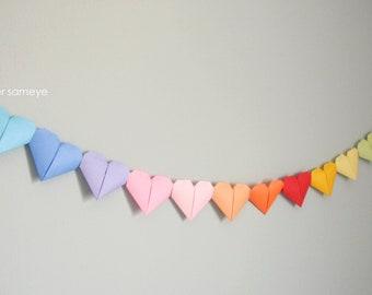 Rainbow origami paper heart Garland baby shower birthday child