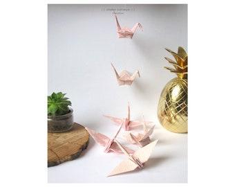 Garland cranes bird origami lucky charm pink ballerina gift wedding birth anniversary interior decoration