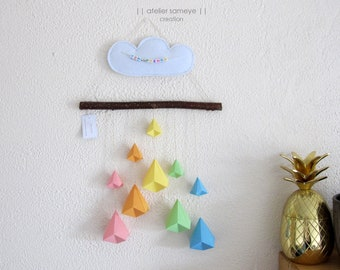 Mobile cloud and berlingot to customize gift Christmas birth christening baby room decoration child