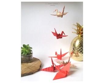 Garland cranes bird origami lucky charm red golden gift birth birthday wedding interior decoration