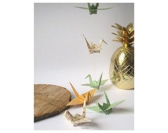 Garland cranes bird origami lucky charm green fish golden gift birth birthday wedding interior decoration
