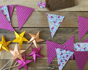 Kit decoration origami pennant stars - baby shower birth baptism wedding union anniversary