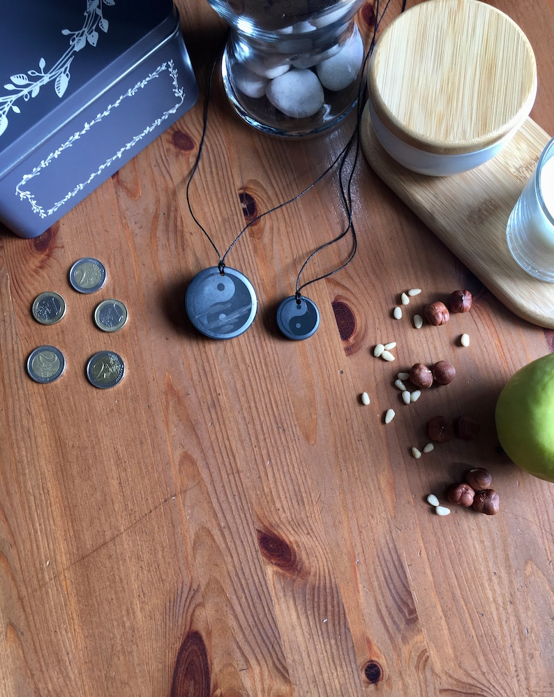 50 mm 1.57 Yin Yang Shungite pendant disc with engraving