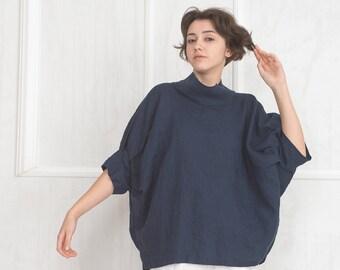 b8bc809adb3 Oversized Linen Tunic Top   Linen Tops for Women   Plus Size Linen Shirt