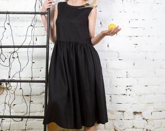 Linen dress. Warm black linen loose fitting dress.Every day dress. Black linen clothes.Loose fit dress. Summer linen dress/LD0020