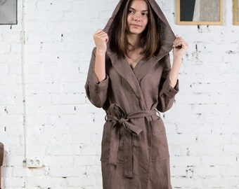 Linen bathrobe with hood   Womens linen robe with hood   Linen kimono robe  short 4aeb9a066