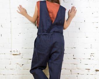 Linen Clothing Linen Jumpsuit Women Linen Pants Salopette Wide Etsy