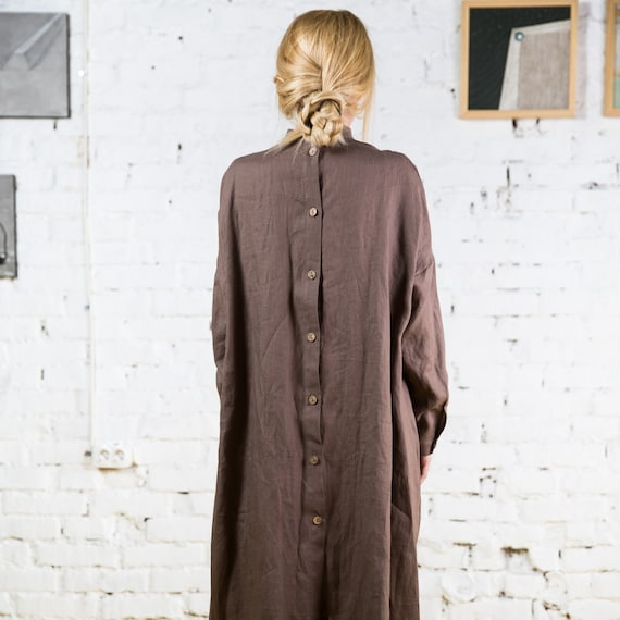Linen Long Sleeve Dress / Linen Dress Plus Size / Womens Linen Dresses /  Linen button dress