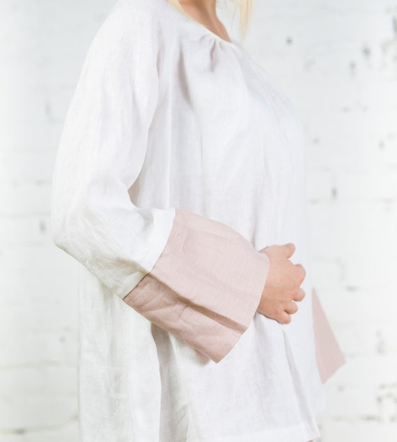 huge discount world-wide free shipping latest releases White linen clothing / Linen maternity clothes / White linen tunic top /  Linen blouse for women