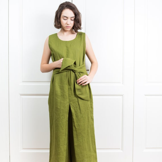 5e669f499545 Linen jumpsuit women clothing   Wide leg pants women linen