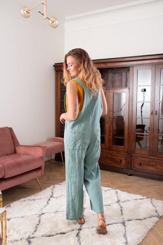 Harem Linen Jumpsuit KAIA  Japanese Linen Jumpsuit Romper   Linen Overalls