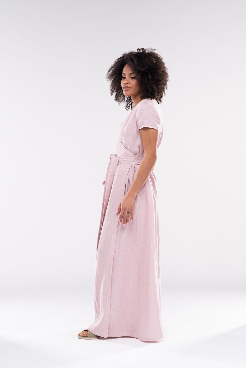 Long Linen Wrap Dress  DARA  Summer Dresses for Women  Linen Maxi Dress