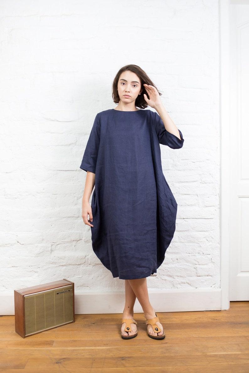da0f5a8a885 Navy Blue Linen Dress Blue Summer Dress Navy Blue Dresses