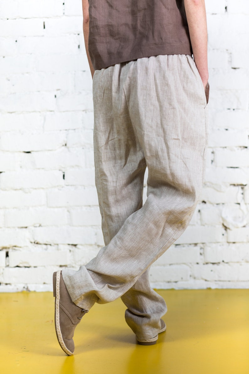 Harem pants women  Sarouel pants  Loose linen pants  Natural linen trausers