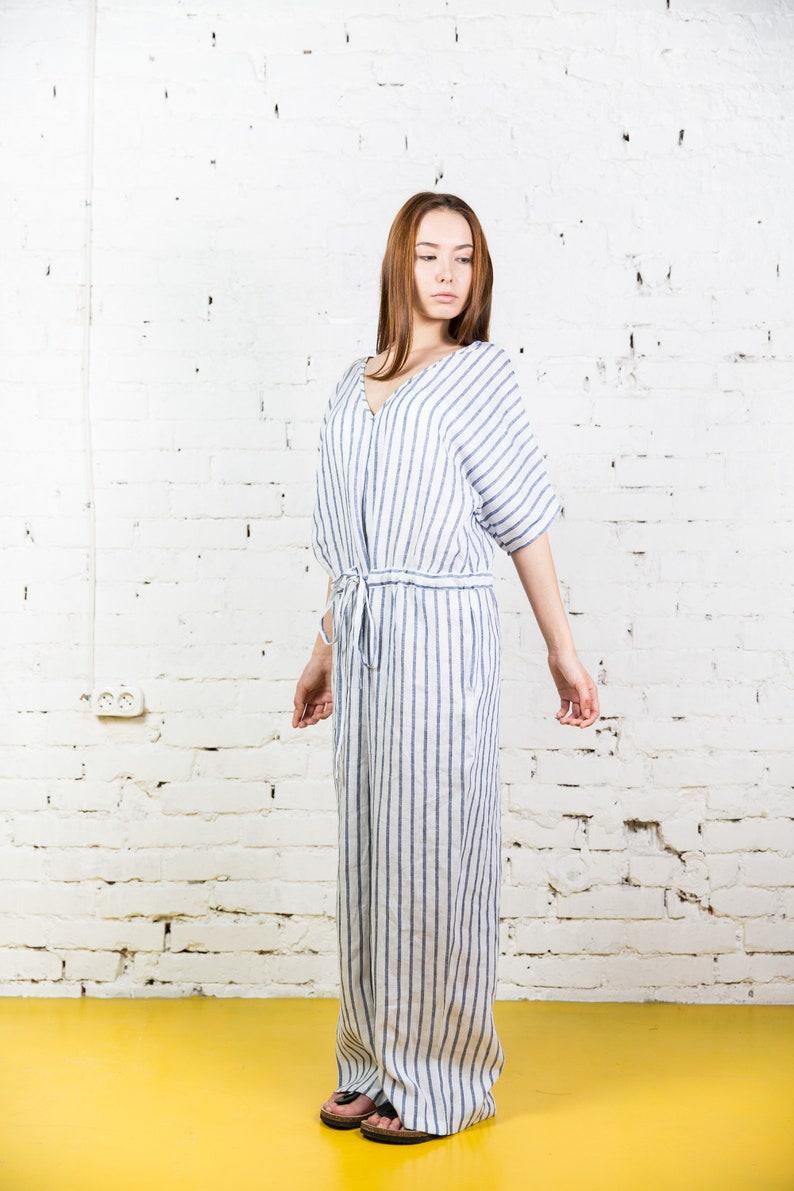 ad4521ab40ab White linen jumpsuit boho pants   Plus size linen wide leg