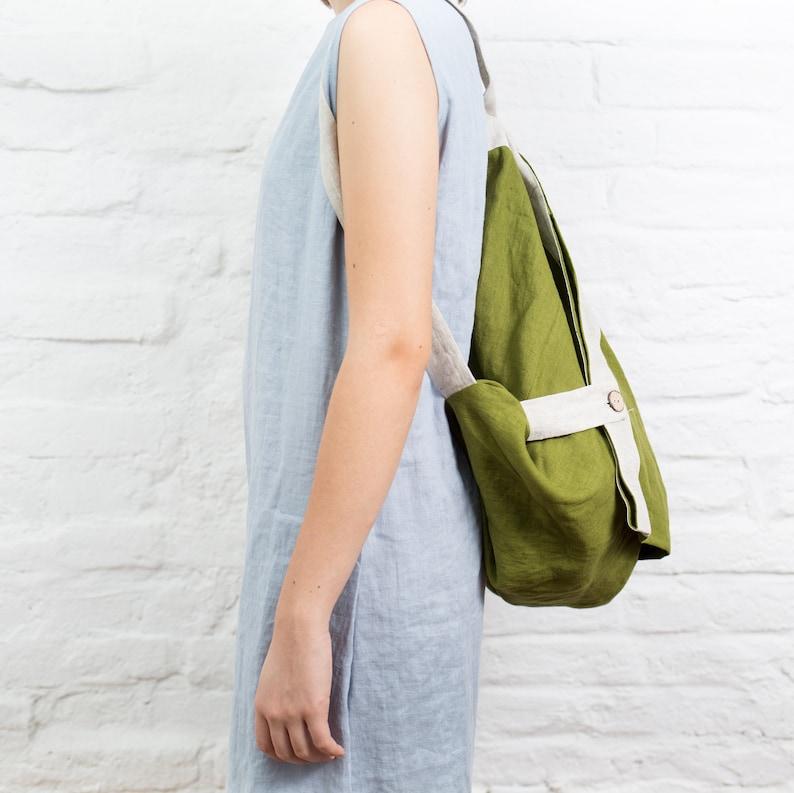 Tote bag vegan backpack  Linen shopping bag  Linen beach tote bag grocery bags