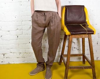 Linen Pants AVELINE  / Linen Cropped Pants / High Waist Pants