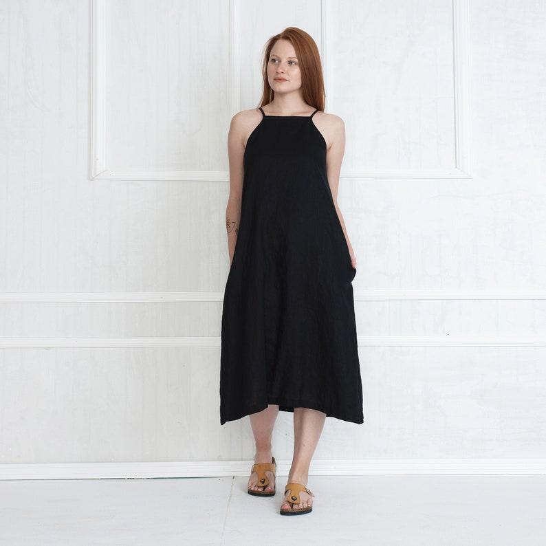 Linen Mid Calf Dress  Loose Summer Dress  Sleeveless Black Linen Dress