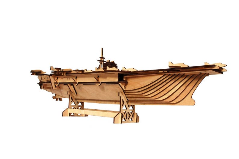 3D Wooden Laser Cut Construction Kit - Aircraft Carrier Ship Model from  Plywood - Wood Puzzle Game Building, Constructor, Kids Wooden Model