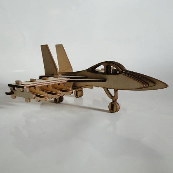 Wooden 3D Fighter Aircraft Woodcraft Construction Kit Wooden Model Building  Puzzle Game, Wood Game Building, Wooden Constructor, Kids Model