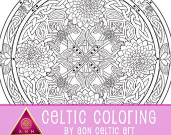 Celtic Dahlia Flower Mandala - coloring page