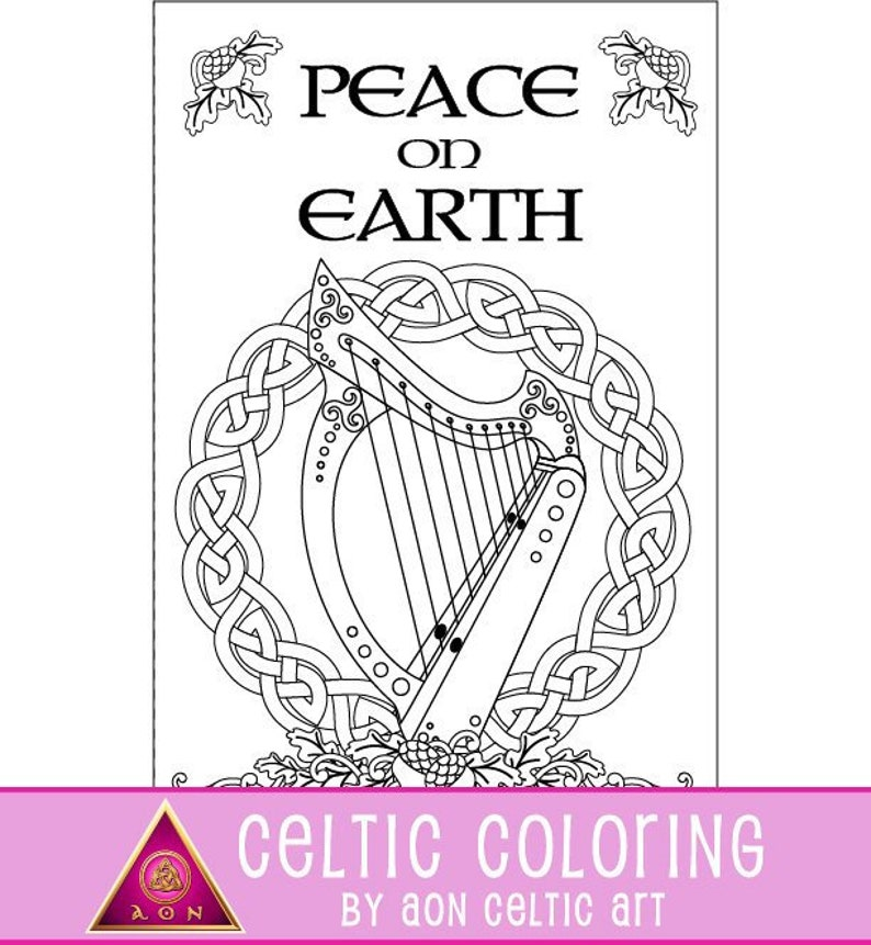 Celtic Pax Noel large  coloring card image 0