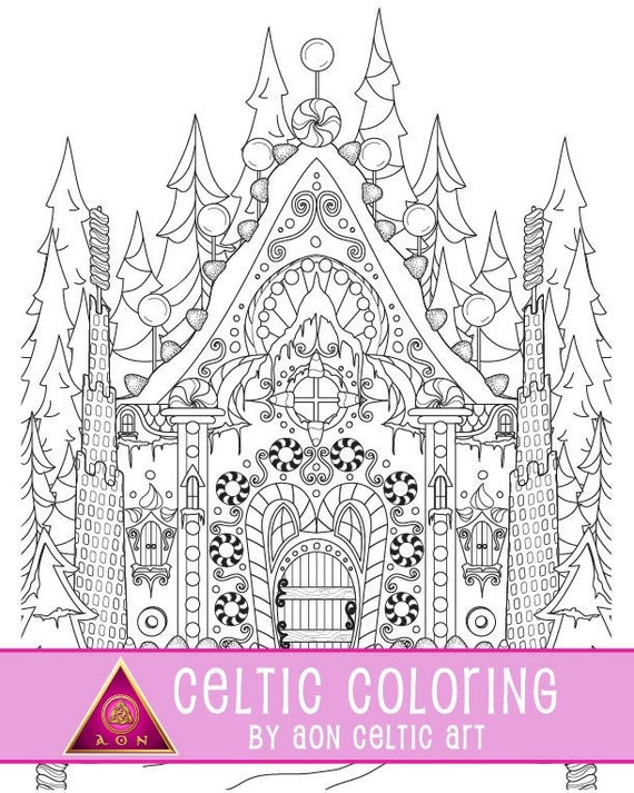 - Gingerbread Castle Coloring Page Etsy